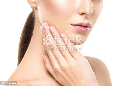 istock Woman shoulders lips hands fingers close-up portrait 517413222