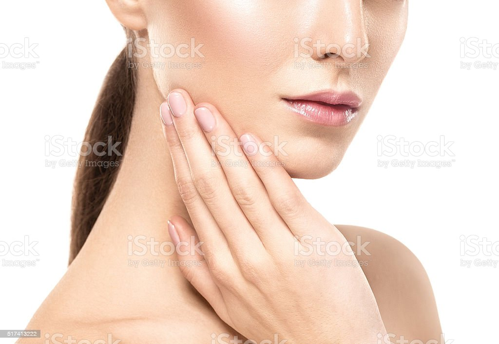 Woman shoulders lips hands fingers close-up portrait stock photo