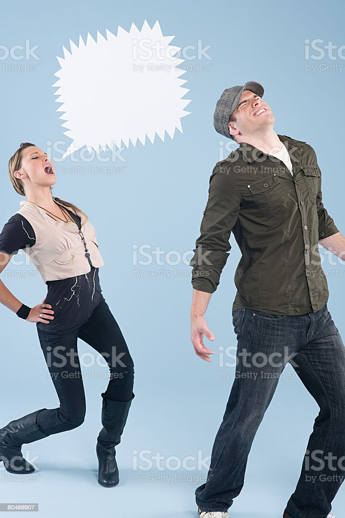 A woman shouting at a man  royalty-free stock photo
