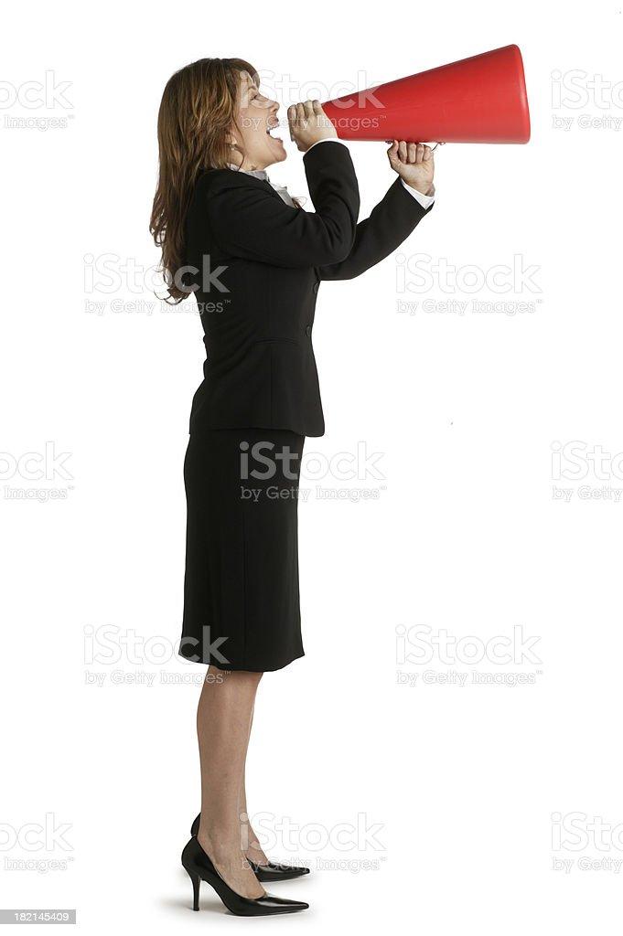 Woman Shouting Into Megaphone royalty-free stock photo