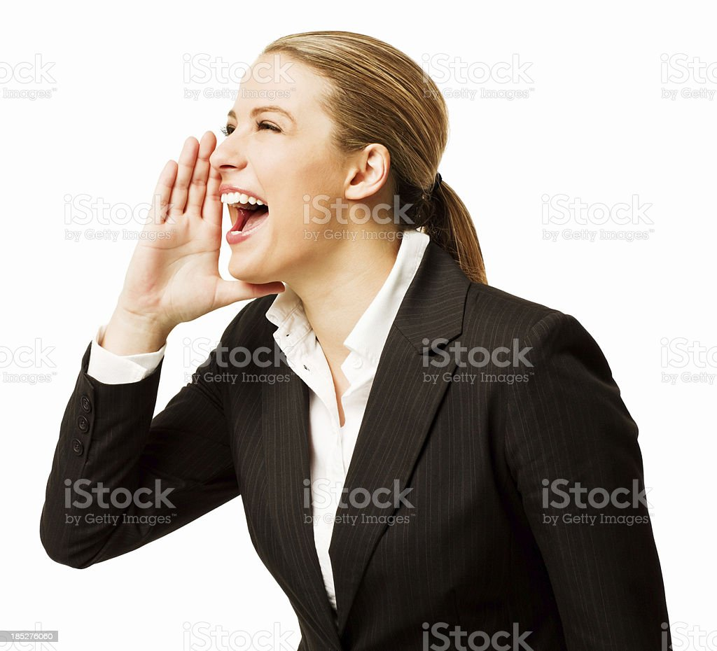 Woman Shouting - Isolated royalty-free stock photo