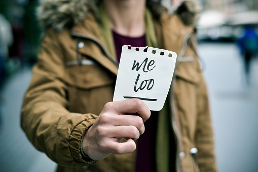Woman Showing A Note With The Text Me Too Stock Photo - Download Image Now