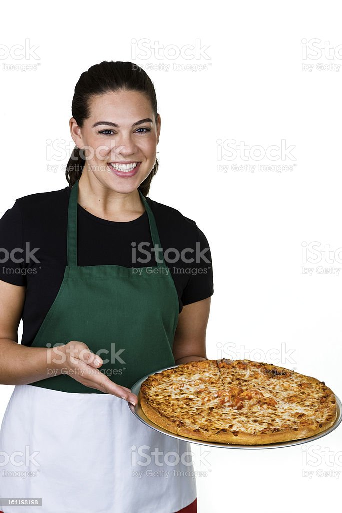 Woman showing a pizza royalty-free stock photo