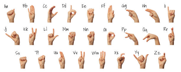 woman showing asl alphabet on white background. sign language concept - hearing aid стоковые фото и изображения