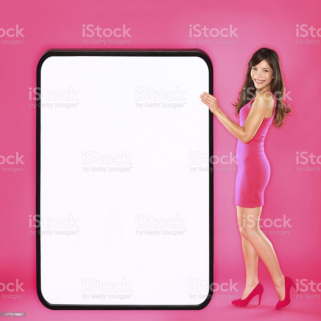 Woman showing big sign royalty-free stock photo
