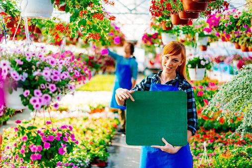 istock Woman showing blackboard, ready for new advertisement in flower shop 610872526