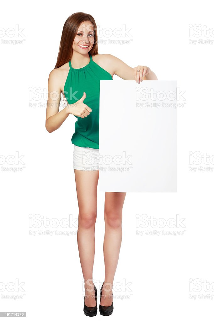 woman showing blank signboard stock photo
