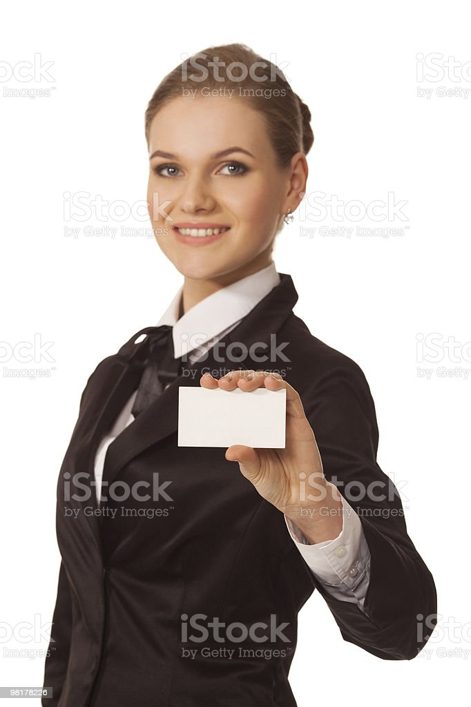 여자 표시중 전화 카드 royalty-free 스톡 사진