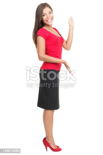 istock Woman showing copyspace isolated 149074580