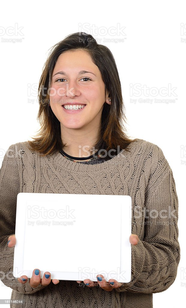 Woman Showing Digital Tablet royalty-free stock photo