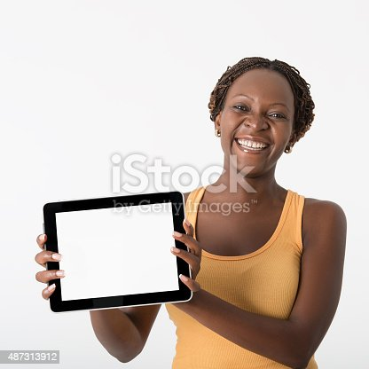 863476166istockphoto Woman showing digital tablet 487313912