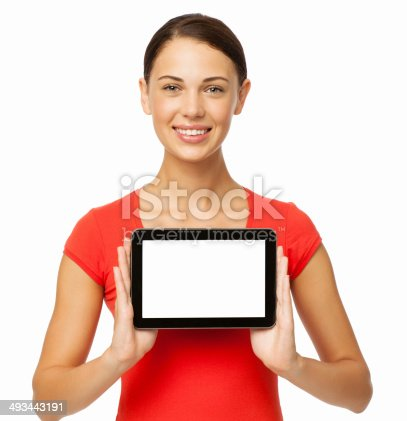 863476166istockphoto Woman Showing Digital Tablet With Blank Screen 493443191