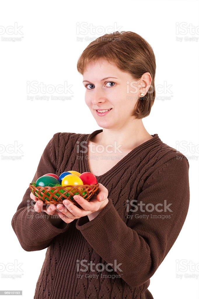 Woman showing easter eggs royalty-free stock photo