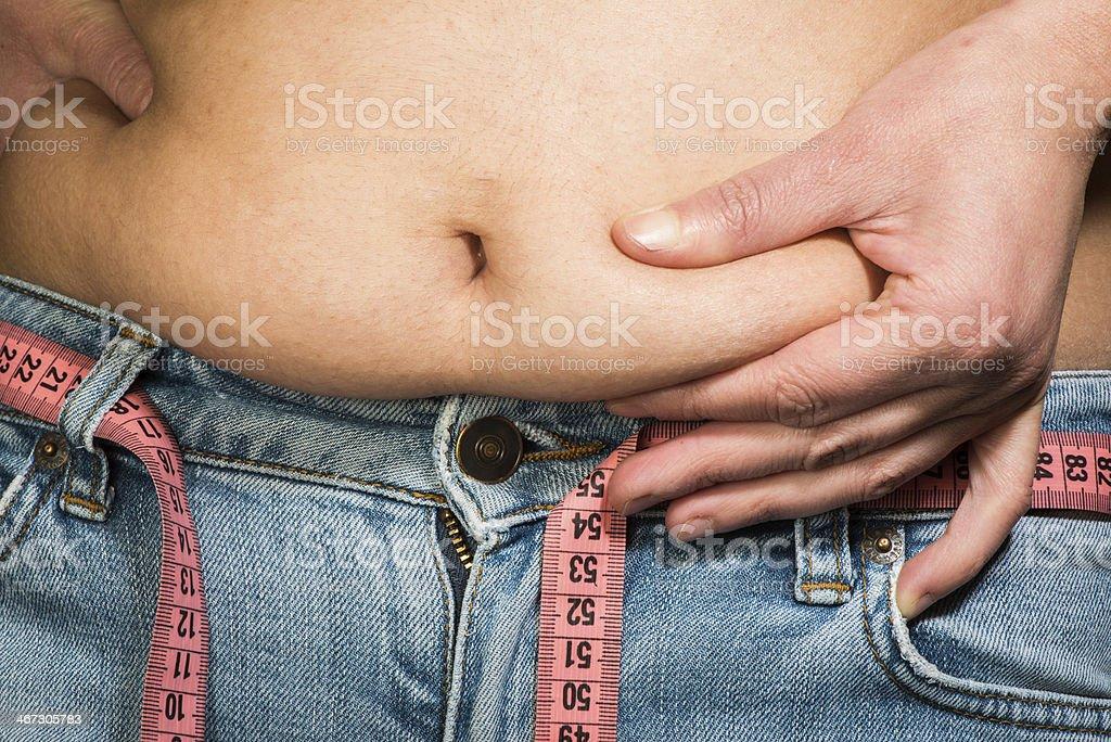 Vientre de mujer mostrando grasa - Foto de stock de Abdomen libre de derechos