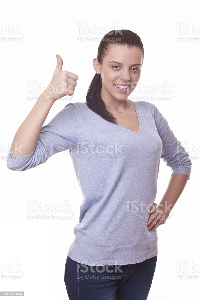 woman showing hand with thumb up royalty-free stock photo
