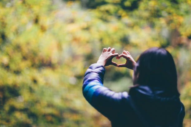 Woman Showing Heart Shape To Nature stock photo