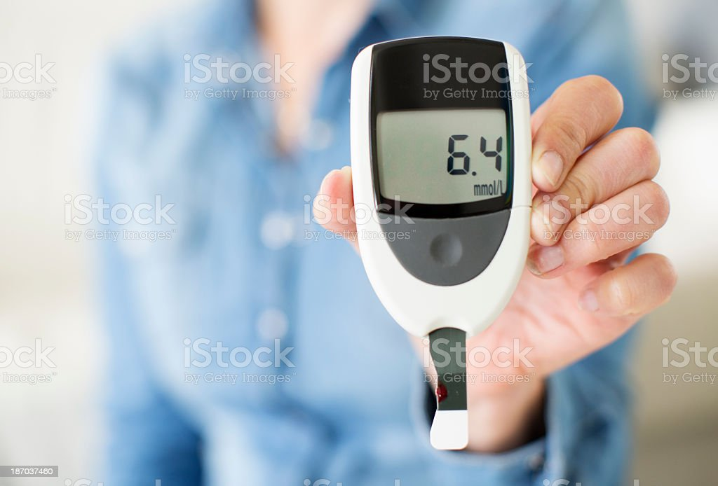 Woman Showing Her Glucose Level Test. stock photo