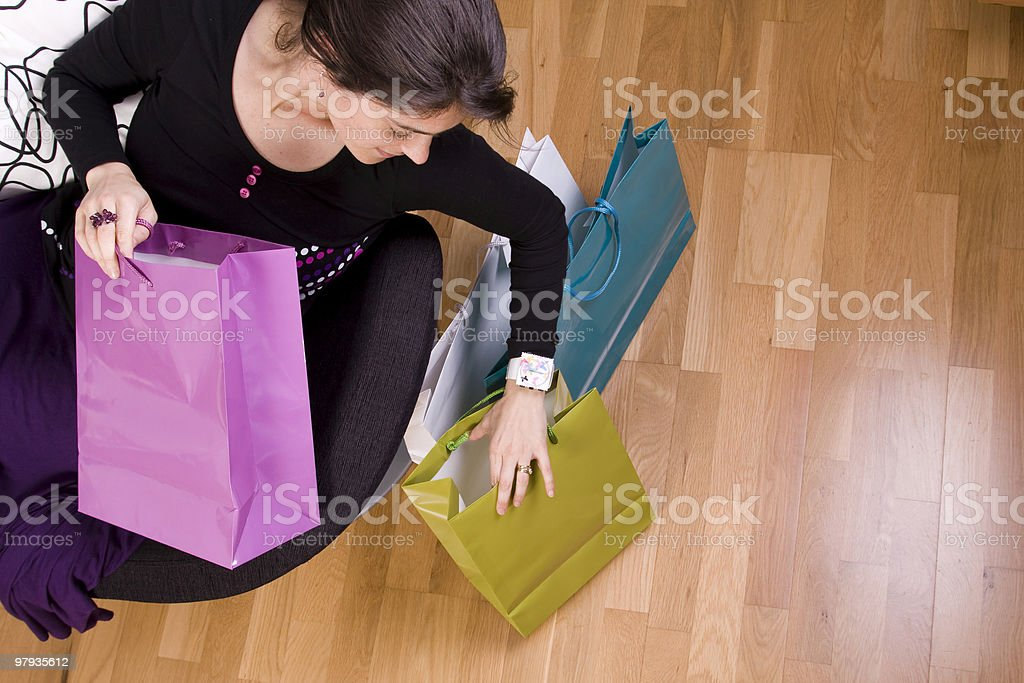 woman showing her shopping bags royalty-free stock photo