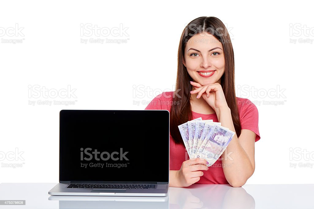 Woman showing  laptop screen stock photo