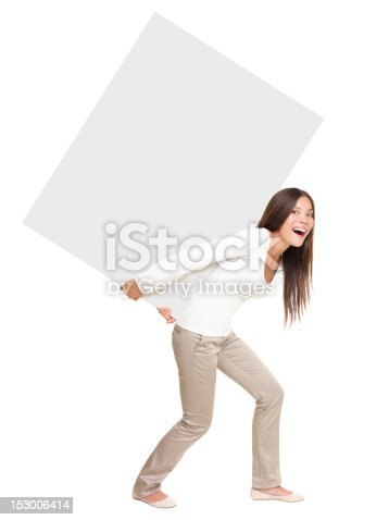 istock Woman showing / lifting heavy sign 153006414