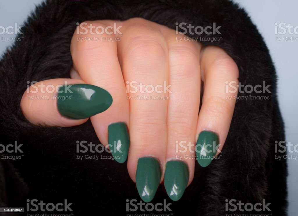 Woman Showing Off Her New Acrylic Nails And Fake Fur Coat Stock ...