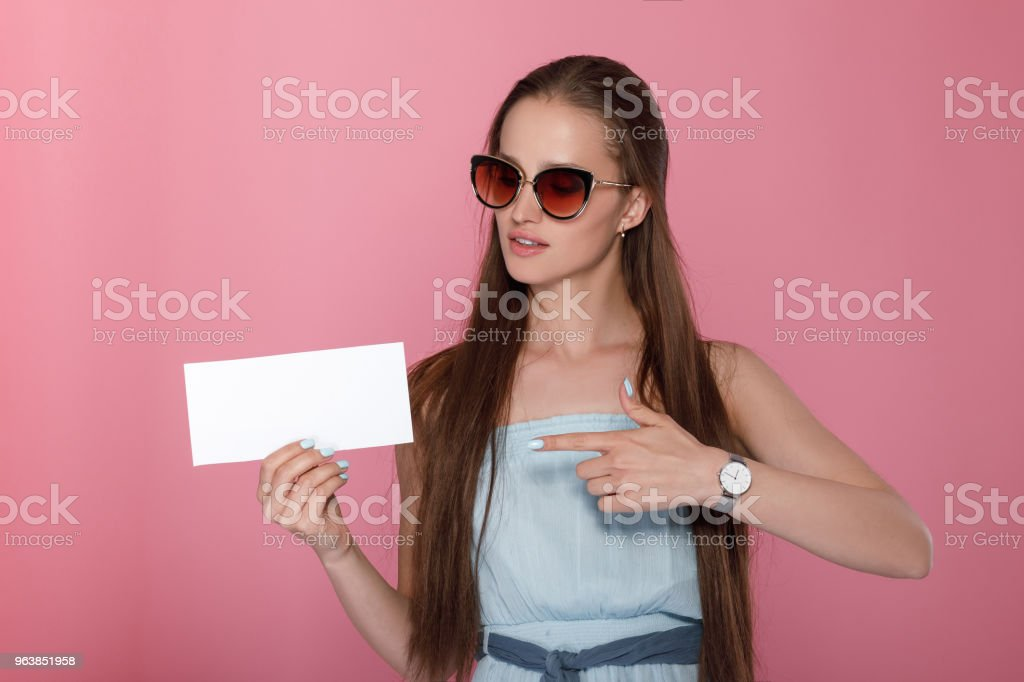woman showing on empty blank - Royalty-free Adult Stock Photo