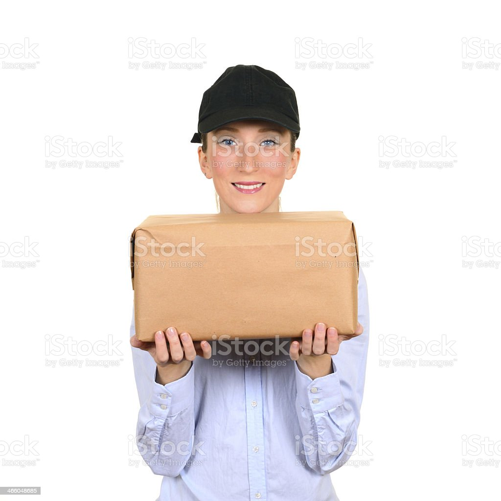 Woman Showing Package royalty-free stock photo