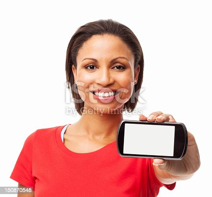 istock Woman Showing Smart Phone With Blank Screen - Isolated 150870548