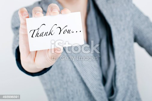 1094837778 istock photo Woman Showing Thank You Card 493996591