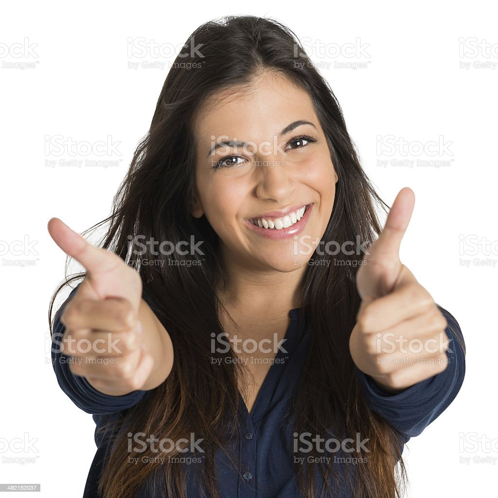 Woman Showing Thumb Up Sign stock photo