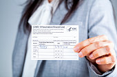 istock woman showing Vaccination record card 1309870142