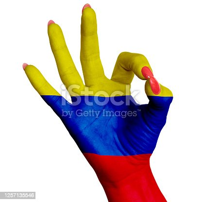 A woman shows the flag of Colombia on her hand as an ok symbol. Image on a white background