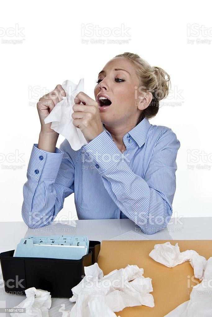 Woman sick at work royalty-free stock photo