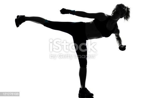 497607484 istock photo woman side kicking  posture 121275103