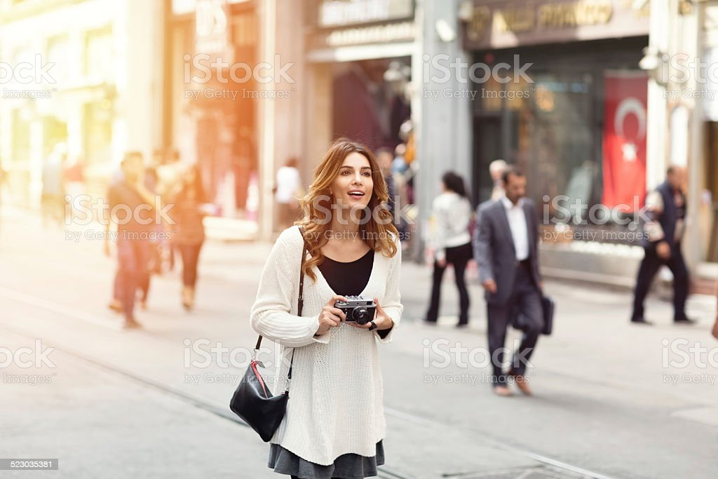 Woman sightseeing in Istanbul stock photo