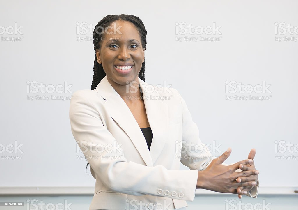 Woman Signing ASL sign for AMERICA stock photo