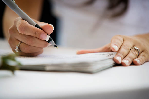 Woman Signing stock photo