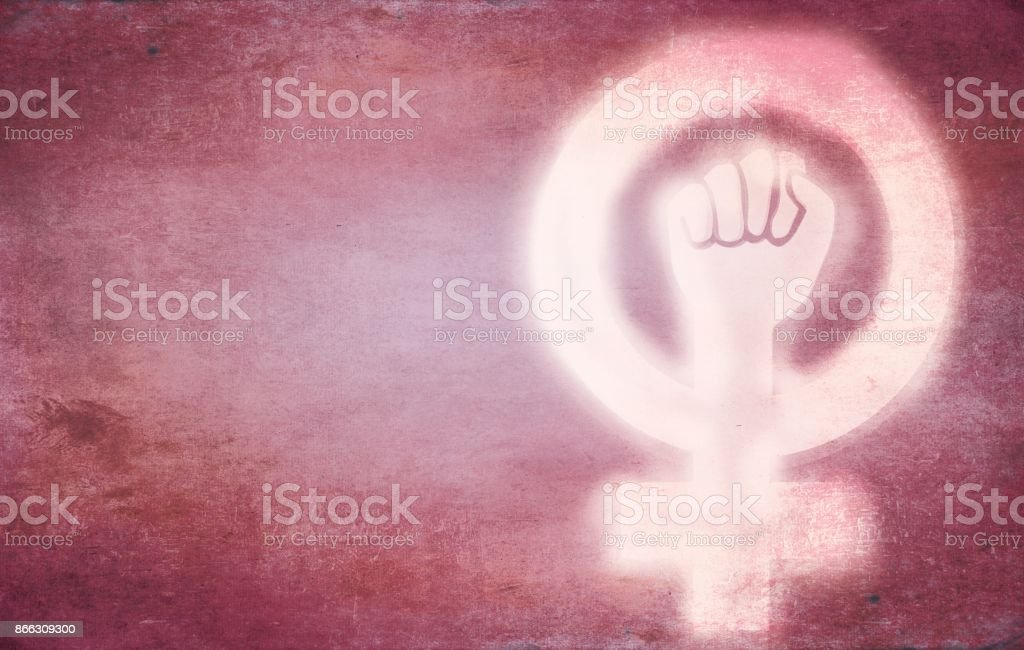 Woman Signs on a wall stock photo