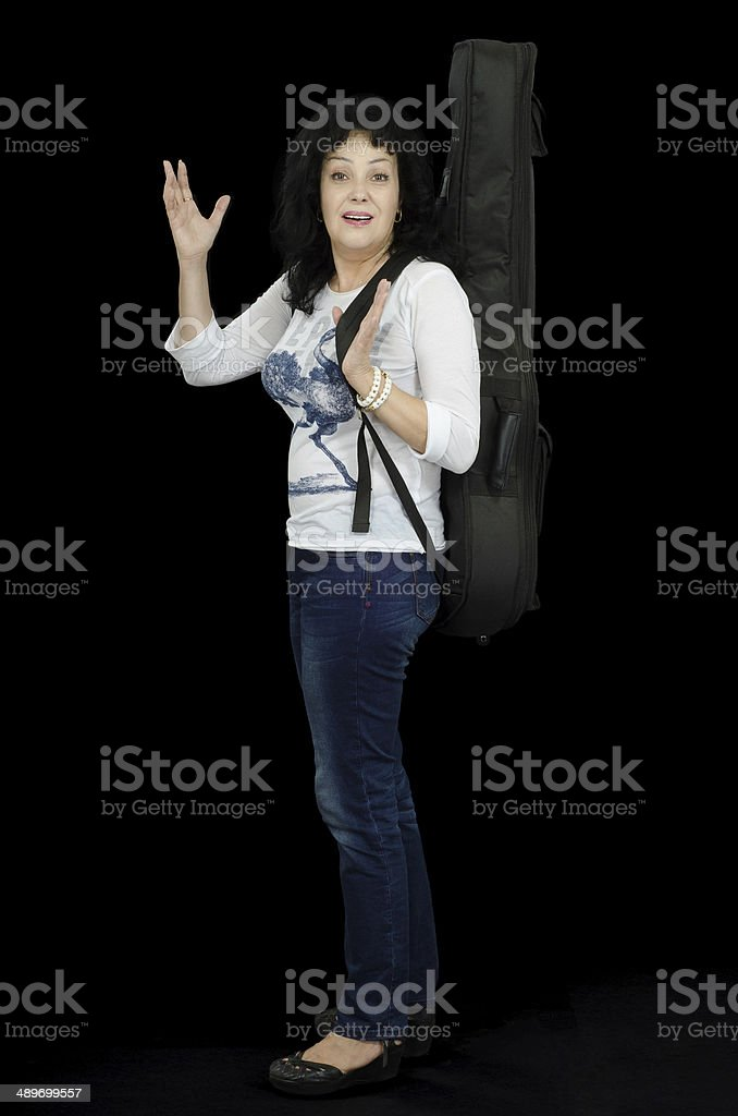 Woman singer showing friendly gesture stock photo