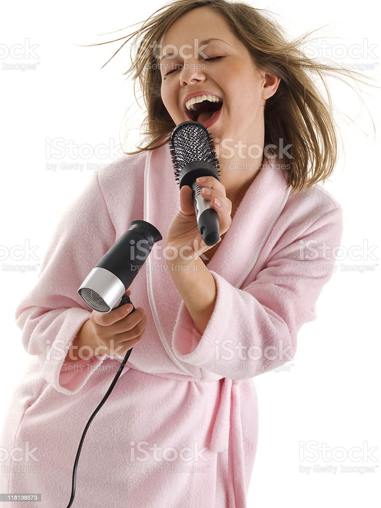 Woman singing with hairbrush royalty-free stock photo