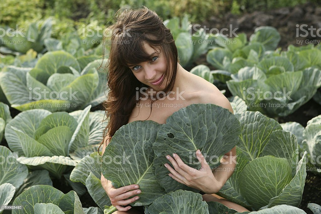 Woman sit in cabbage field. royalty-free stock photo