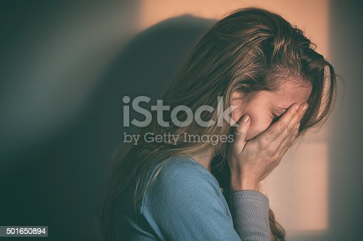 istock Woman sitting alone and depressed 501650894