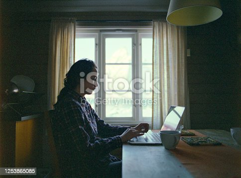Woman sitting at table and using laptop in cabin in winter