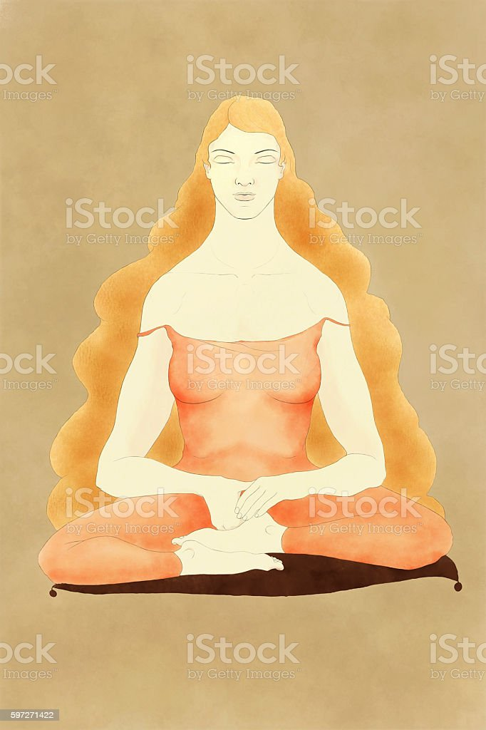 Woman sitting in meditation Lizenzfreies stock-foto