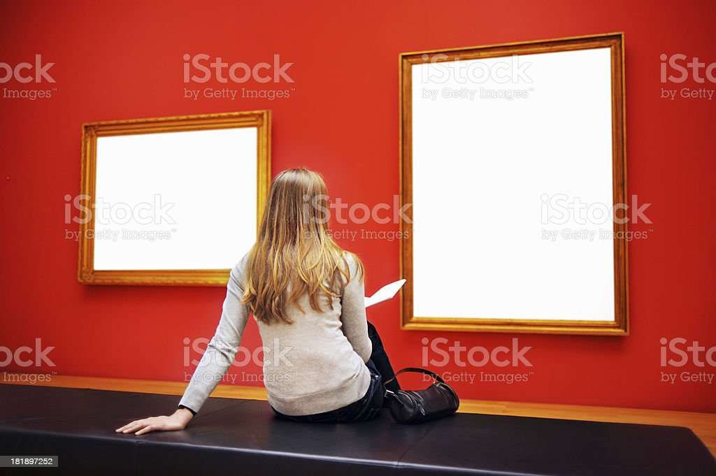 Woman Sitting In Museum royalty-free stock photo