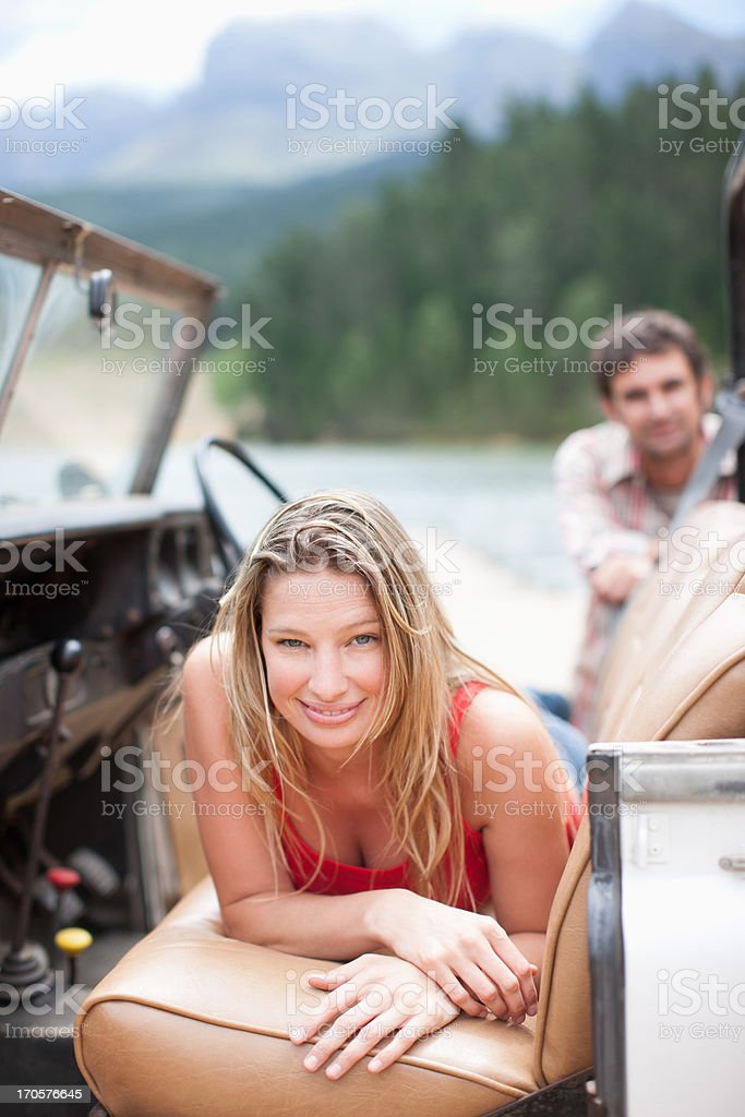 Woman sitting in vehicle royalty-free stock photo
