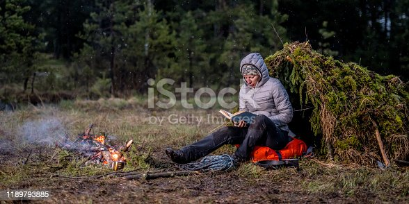 Woman reading a book while sitting next to a campfire and a makeshift shelter on a woodland plain.