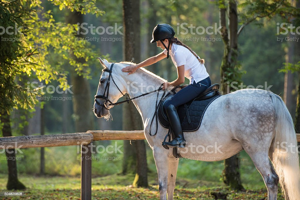 Woman sitting on horse stock photo