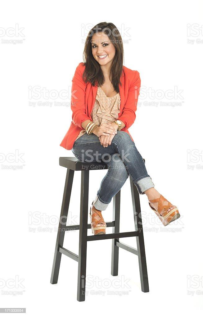 Woman Sitting on Stool stock photo