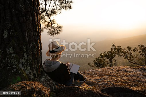 Woman sitting under a pine tree reading and writing looking out at a beautiful natural view